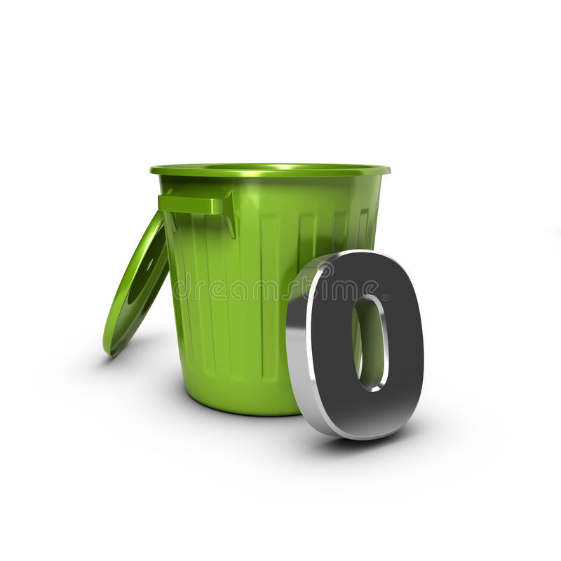 Zero Waste Objective. Number zero against a green bin. Concept illustration for zero waste objective royalty free illustration