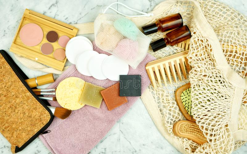 Zero-waste, plastic-free beauty and makeup products flatlay overhead. royalty free stock images