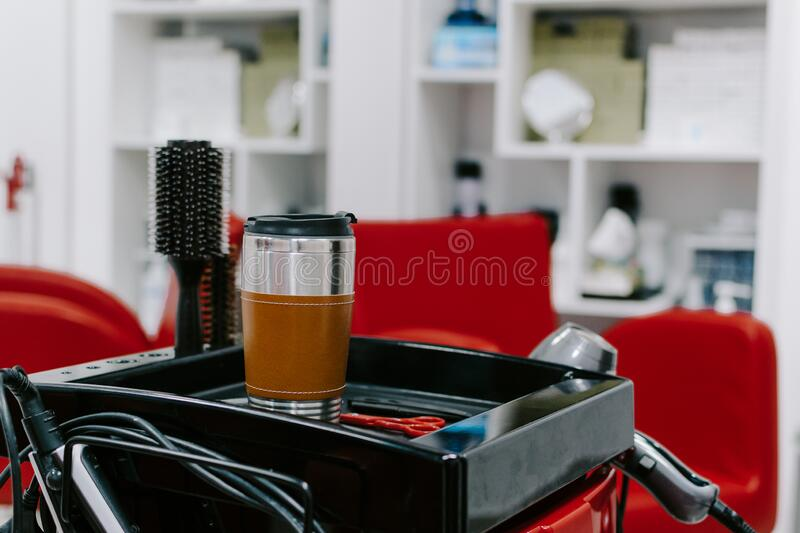 Zero Waste Reusable Coffee Cup in beauty salon. Sustainable living stock photography