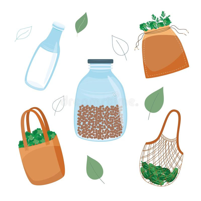 Zero waste, reuse and plastic reduce concept in flat style. stock illustration