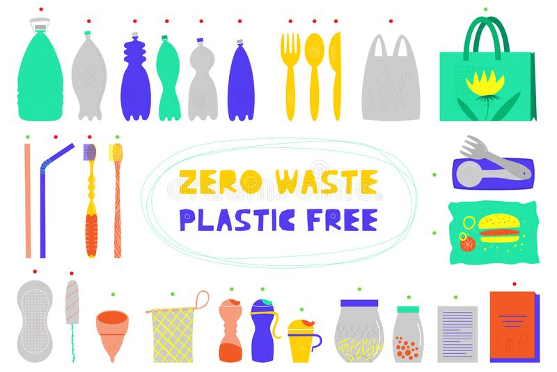 Zero waste vector illustrations set vector illustration