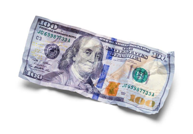 Zerquetscht hundert Dollarschein stockbild