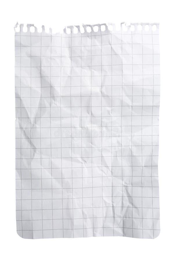 Zerquetschtes Notizblock-Blatt stockbilder