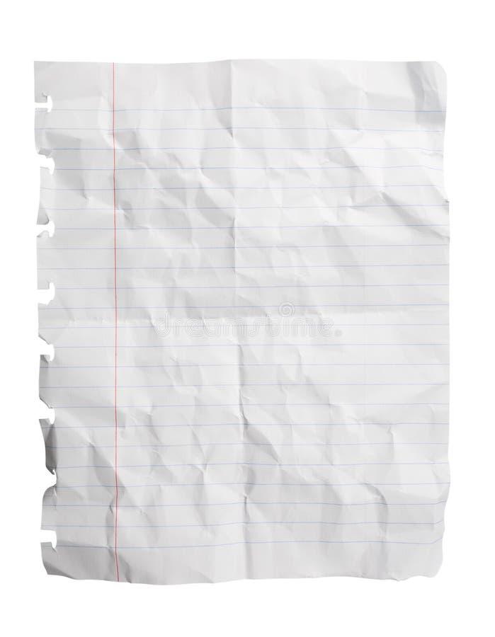 Zerquetschtes Notizblock-Papier-Blatt stockfotos
