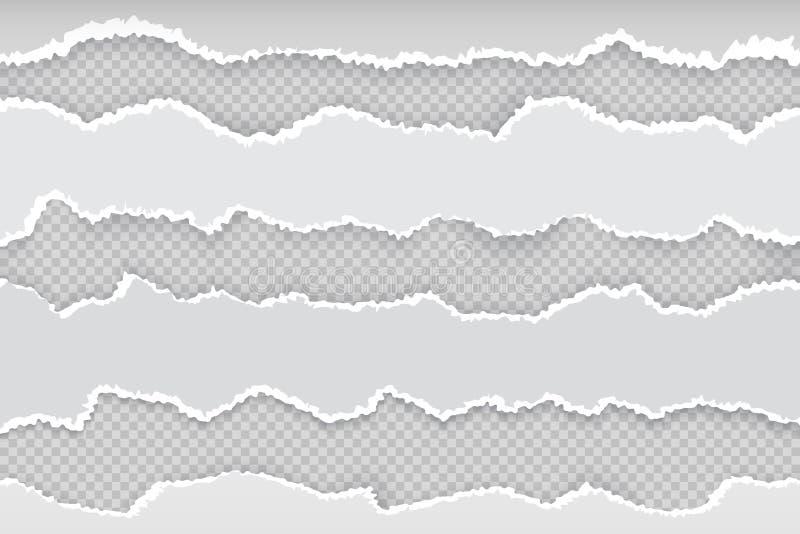 Zerrissene Papierseite Horizontale heftige Streifen der Zeitung, realistischer transparenter weißer Papprissrand Vektorfahne rau lizenzfreie abbildung