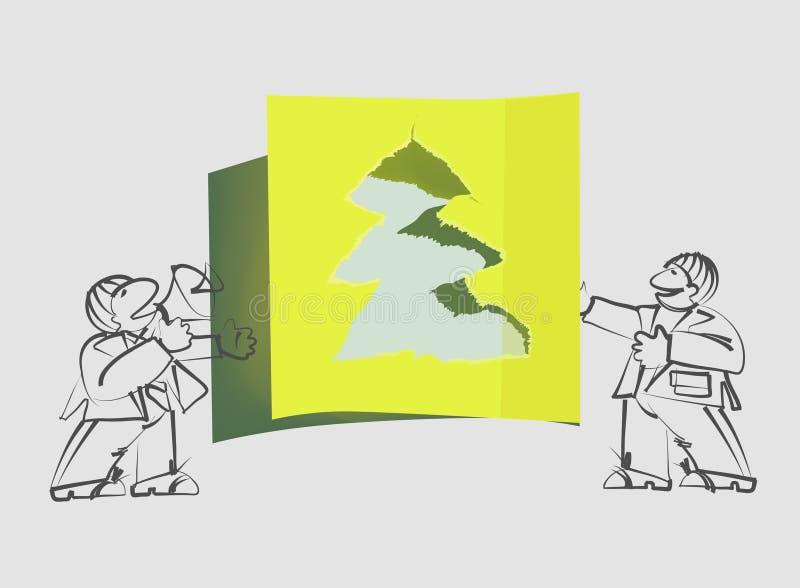 Zerrissene Papierweihnachtsbaum- und Feiertagsansager stock abbildung