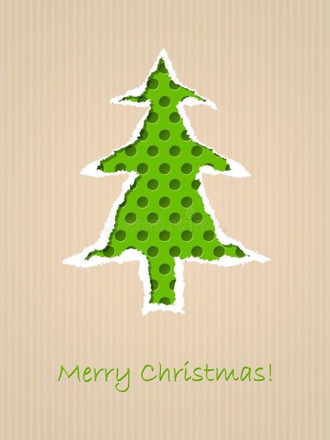 Zerrissene Papierweihnachtskarte mit punktiertem grünem Baum lizenzfreie abbildung