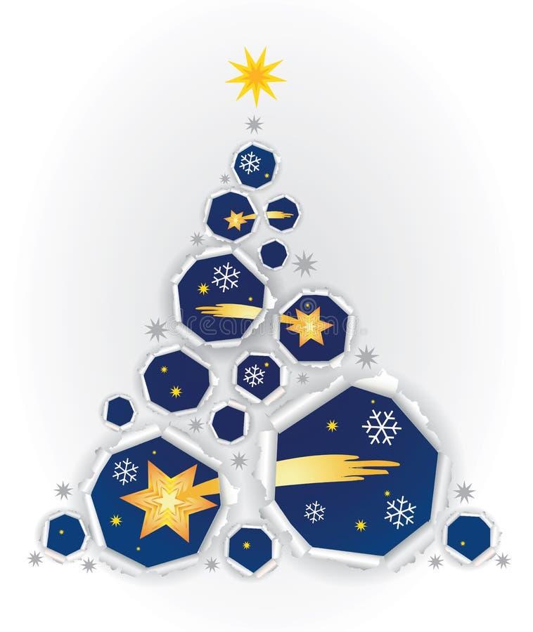 Zerrissener Papierweihnachtsbaum mit Stern von Bethlehem lizenzfreie abbildung