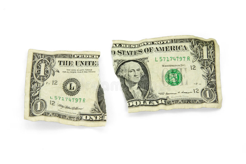 Zerrissener USA-Dollar stockfotografie