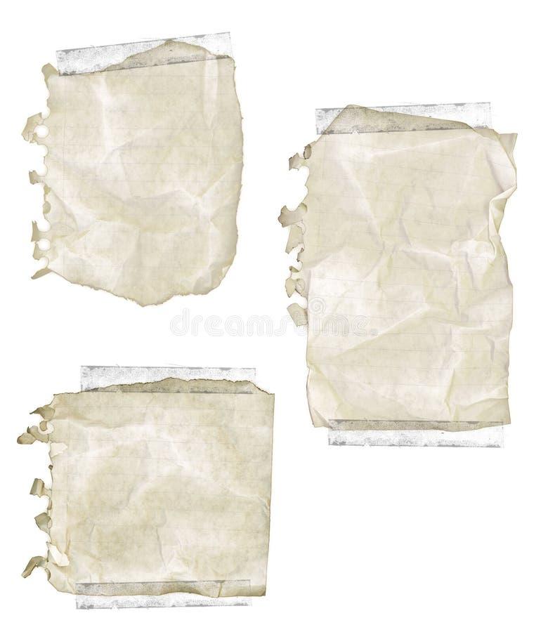 Zerrissenes altes Notizblock-Papier mit Band stockfotografie