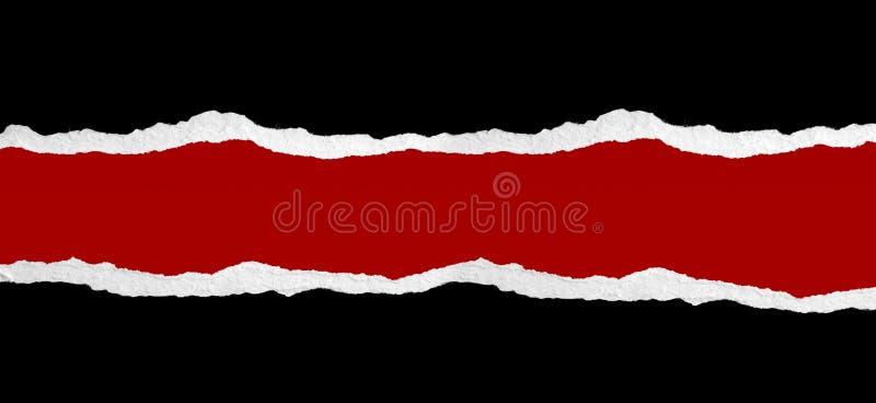 Zerrissenes Papier auf Rot stockbilder