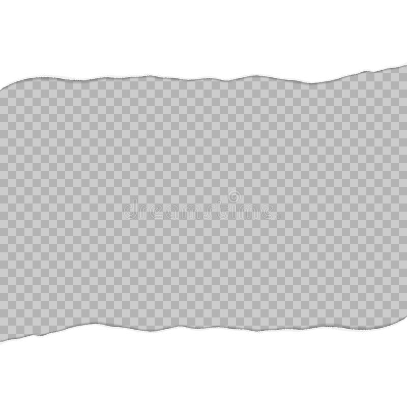 Zerrissenes Papier zu zwei Blättern Weißbuch zerrissen in die Mitte Zerrissene Papierschablone stock abbildung