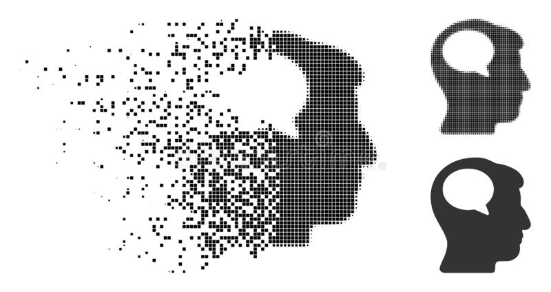 Zerrissenes Pixel-Halbton Person Thinking Icon stock abbildung