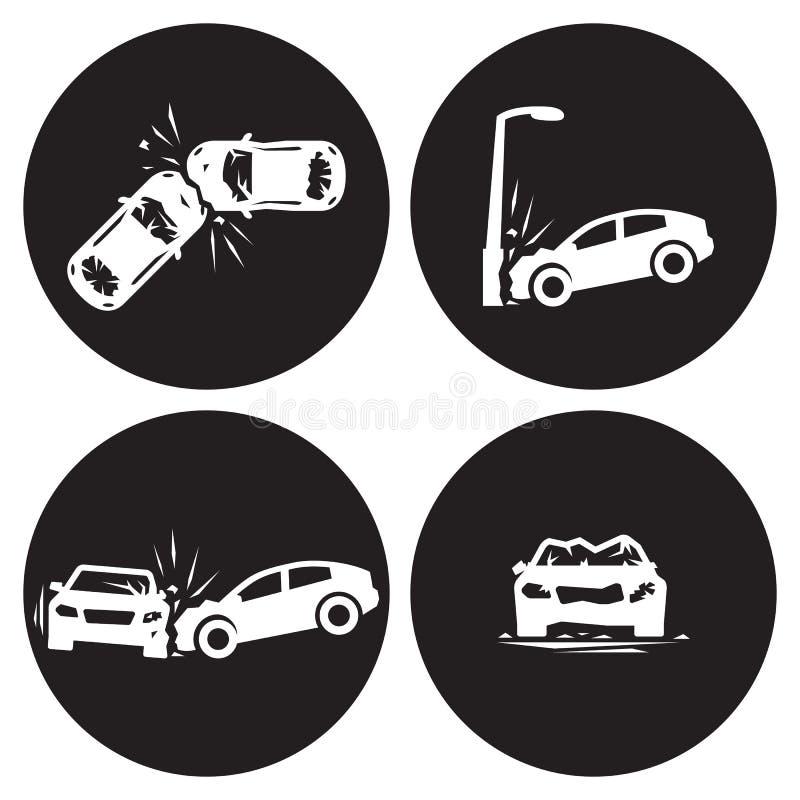 Zerschmetterte eccident Ikonen des Auto-Autos eingestellt stock abbildung