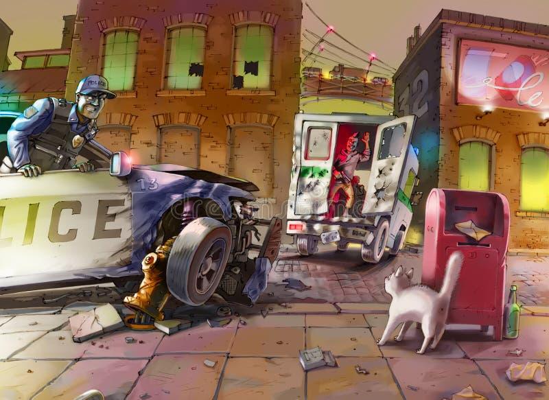 Zerschmetterter Polizeiwagen infolge einer ausfallen Verfolgung stockbild