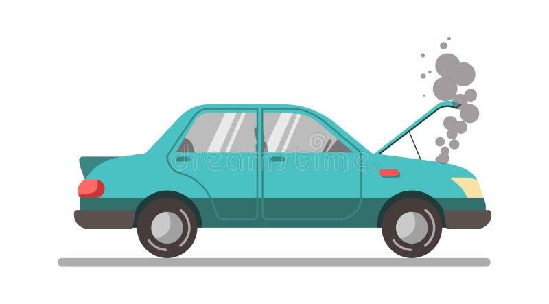 Zerschmettertes blaues Auto mit offener Haube, Vektorillustration lokalisiert stock abbildung