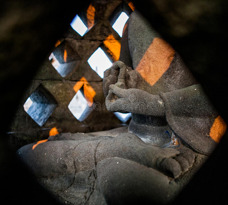 Zersplittern Sie Steinwandgemälde in der indonesischen Insel Borobudur-Tempels von Java stockbild