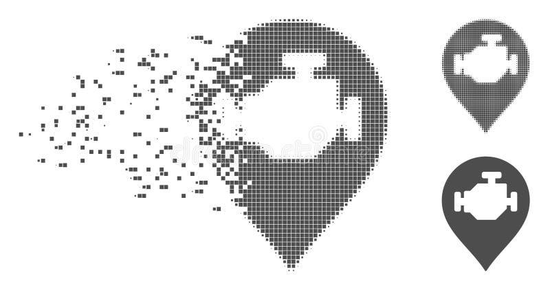 Zersplitterte Pixel-Halbtonmaschinen-Markierungs-Ikone stock abbildung
