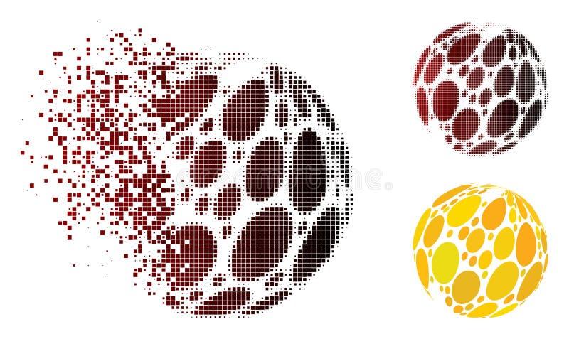 Zersplitterte Pixel-Halbtonstellen-Zusammenfassungs-Bereich-Ikone stock abbildung