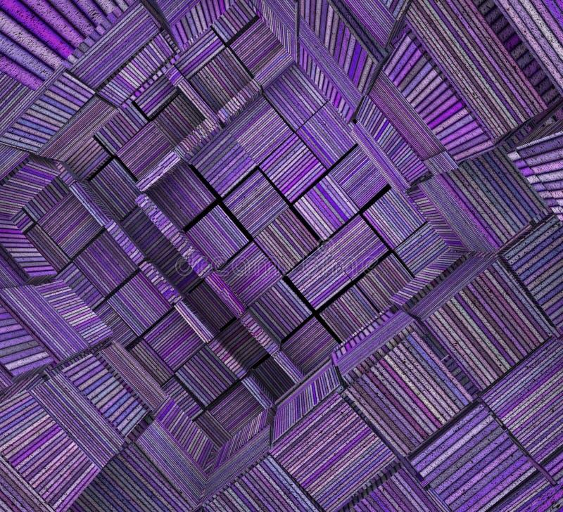 zersplittertes 3d deckte gestreiftes purpurrotes Lavendel-Mag des Mosaiks Labyrinth mit Ziegeln stock abbildung