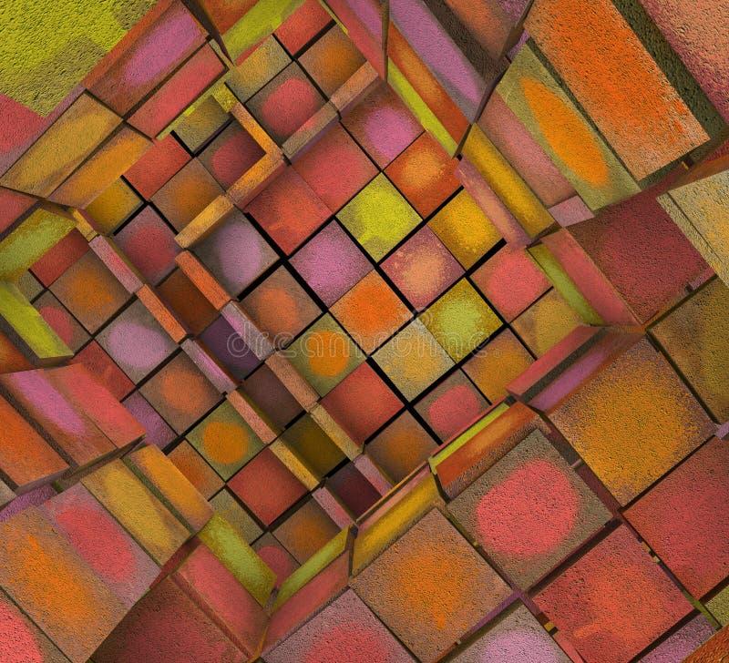 zersplittertes 3d deckte Graffitilabyrinth in der mehrfachen Sprayfarbe mit Ziegeln stock abbildung