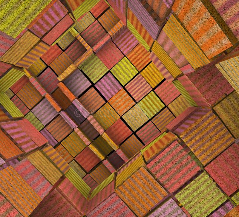 zersplittertes 3d deckte Mosaiklabyrinth in der mehrfachen Farbe mit Ziegeln stock abbildung
