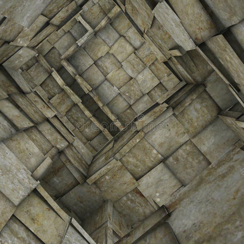 zersplittertes 3d deckte Mosaiklabyrinthinnenraum in der grauen Beige mit Ziegeln stock abbildung