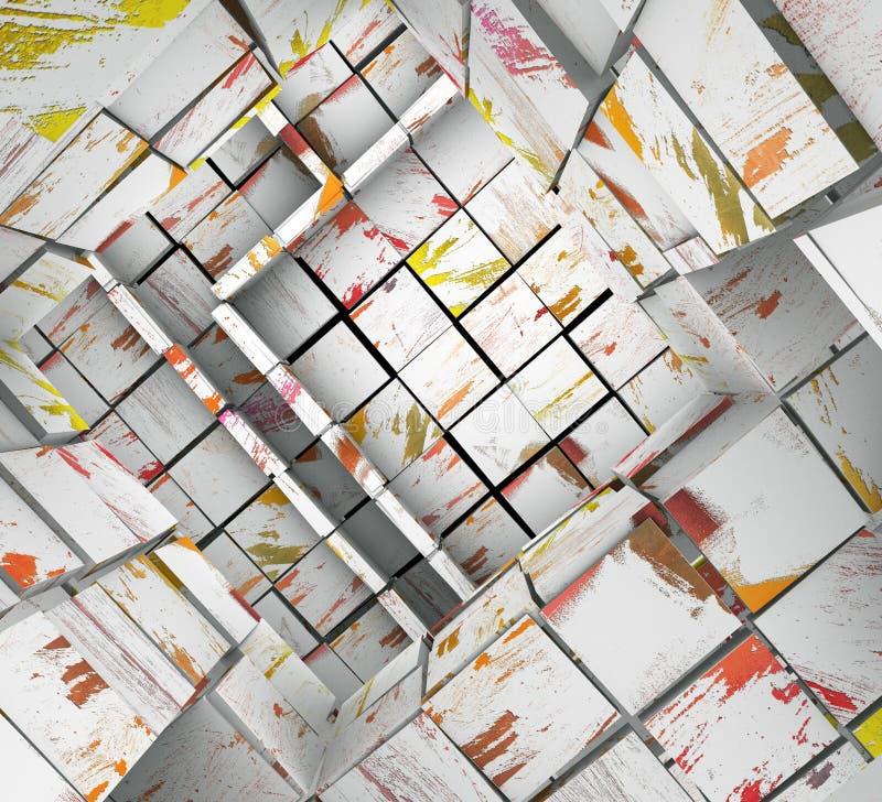 zersplittertes 3d deckte weißes Farbenmosaiklabyrinth mit Ziegeln lizenzfreie abbildung