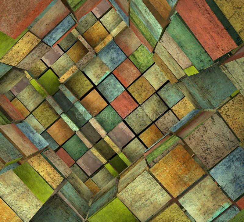 Zersplittertes mit Ziegeln gedecktes Mosaiklabyrinth in der mehrfachen Farbe lizenzfreie abbildung
