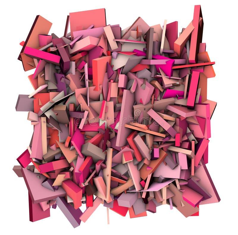 zersplittertes Musterrosa der Zusammenfassung 3d Form lizenzfreie abbildung