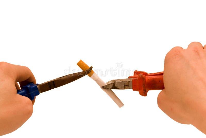 Zerstören Sie rauchende Gewohnheiten stockbild