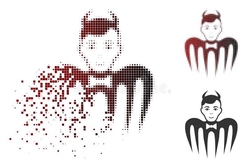Zerstörte Dot Halftone Manager Spectre Devil-Ikone lizenzfreie abbildung