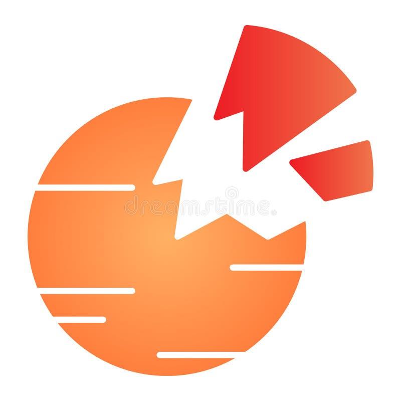 Zerstörte flache Ikone des Planeten Defekte Planetenfarbikonen in der modischen flachen Art Raumsteigungs-Artentwurf, entworfen f lizenzfreie abbildung