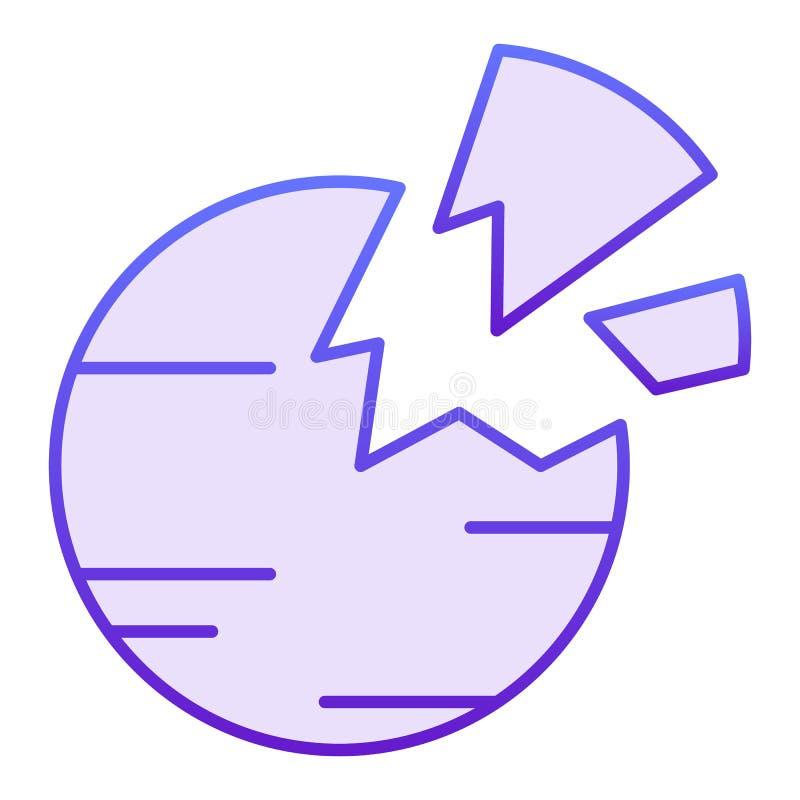 Zerstörte flache Ikone des Planeten Violette Ikonen des defekten Planeten in der modischen flachen Art Raumsteigungs-Artentwurf,  stock abbildung