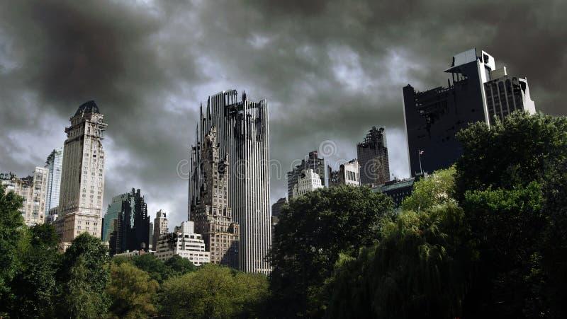 Zerstörte Stadt lizenzfreie abbildung