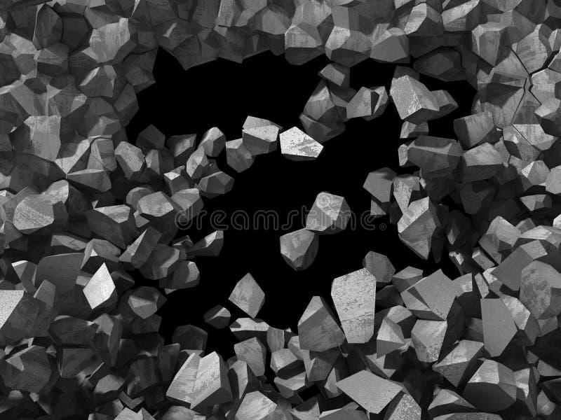 Zerstörung der konkreten Steinwand Dunkles Loch industrielles backgro lizenzfreies stockbild