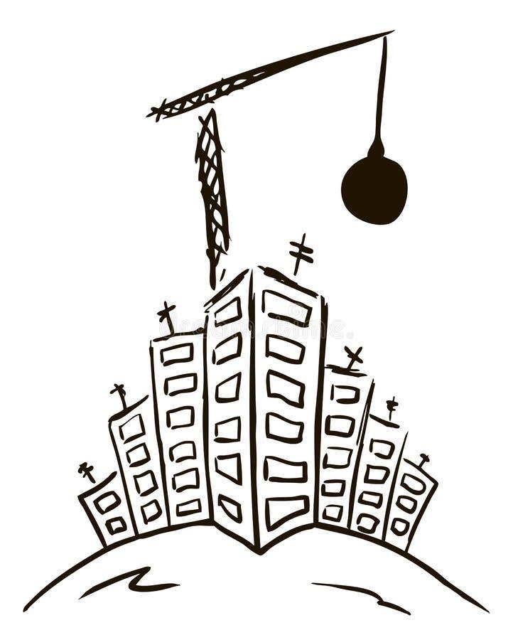 Zerstörung der Stadt lizenzfreie abbildung