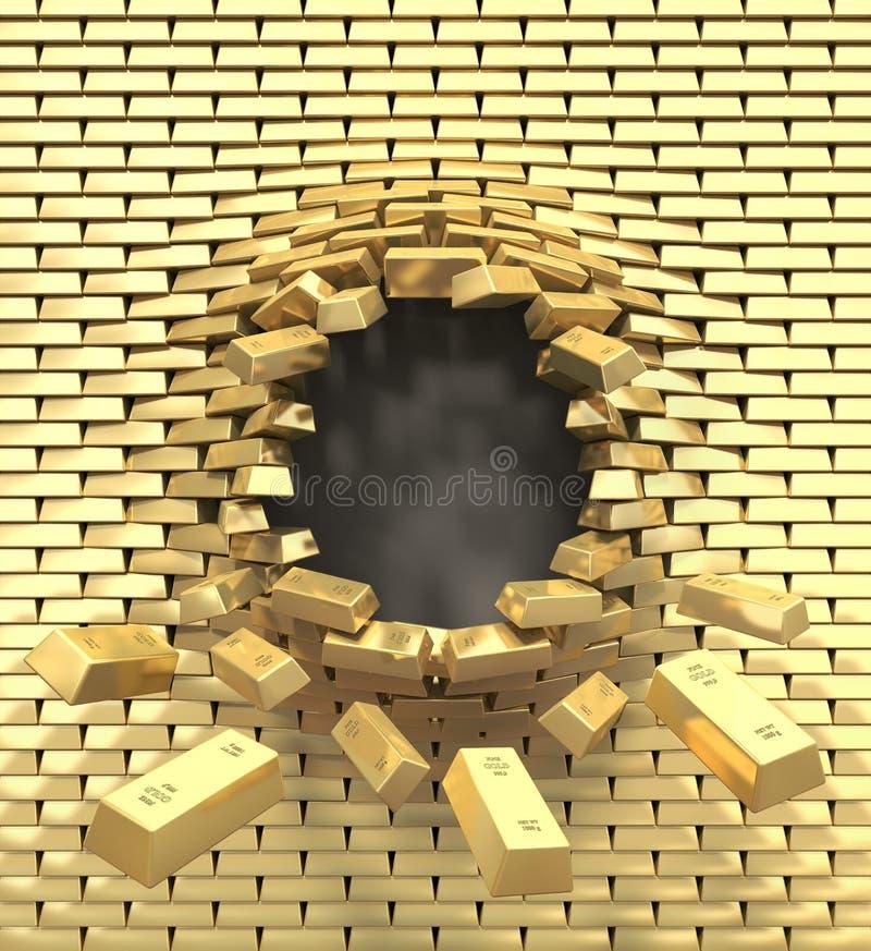 Zerstörung einer goldenen Wand stock abbildung