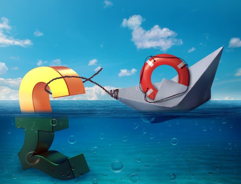 Zerstoßen Sie das Sinken in Seesymbol von zukünftigen BRITISCHEN Wirtschaftskrisen-Rezessionskonjunkturschwächen Ergebnisse brexi lizenzfreie abbildung