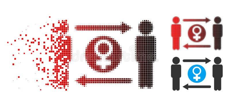 Zerstreute Austausch-Frau-Ikone lebenslustiger Typen Pixelated Halbton vektor abbildung