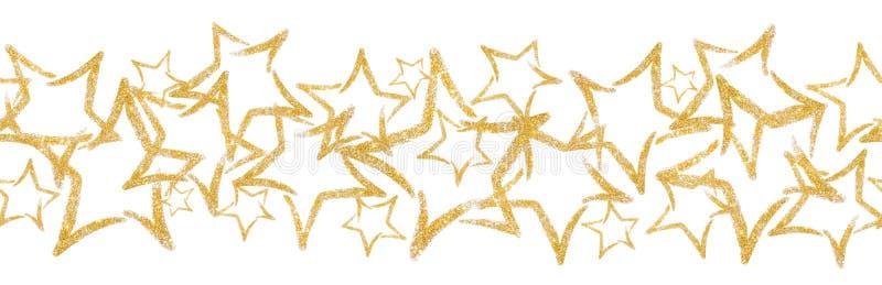 Zerstreute Paillette in Form eines Sternes Nahtlose Grenze mit Funkelnstern vektor abbildung