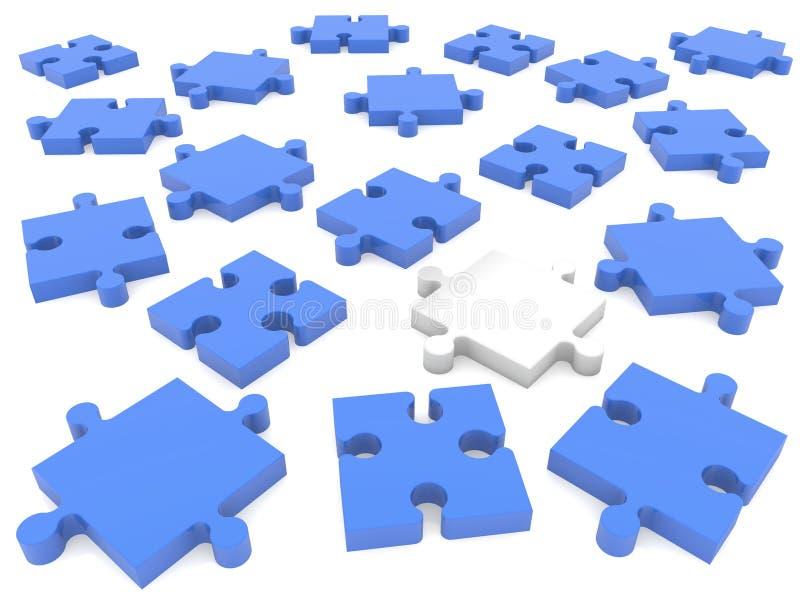 Zerstreute Stücke des Puzzlespiels lizenzfreie abbildung