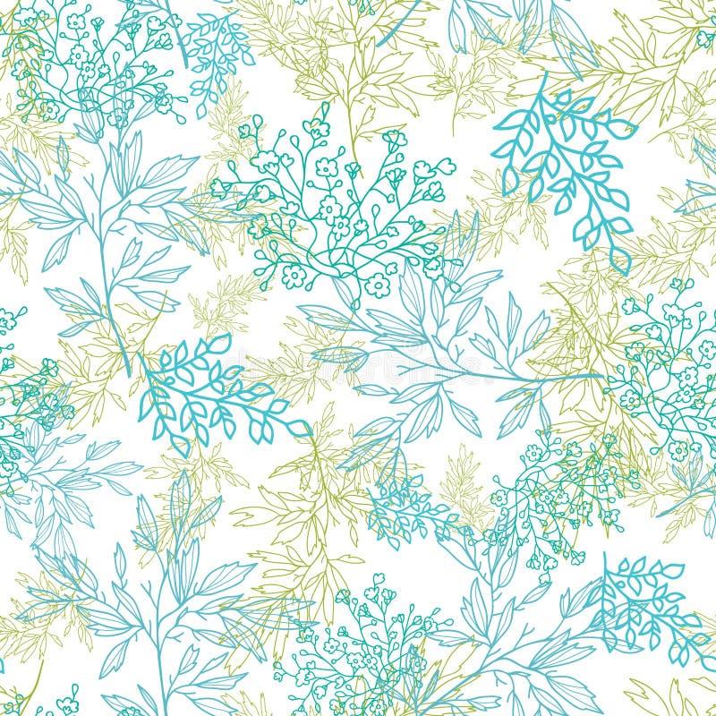 Zerstreutes blaues Grün verzweigt sich nahtloser Musterhintergrund lizenzfreie abbildung
