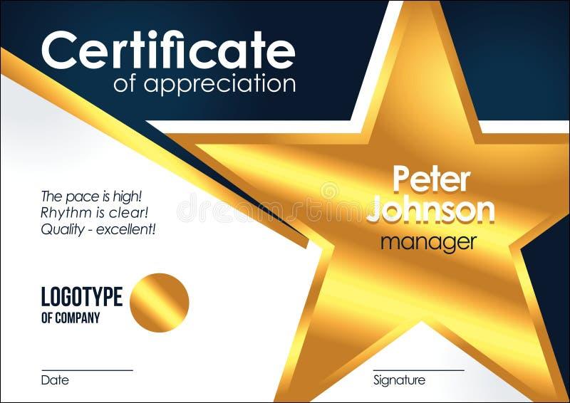 Zertifikat Anerkennung goldenen muniment oder der Diplomschablone mit Design-Rahmen illus der Goldsternmetallbeschaffenheit kühle lizenzfreie abbildung