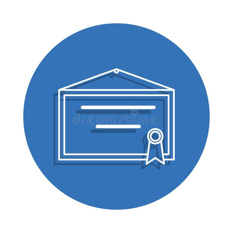 Zertifikat auf whe Wand-Ausweisikone Element der Bildung für bewegliches Konzept und Netz apps Ikone Dünne Linie Ikone mit Schatt vektor abbildung