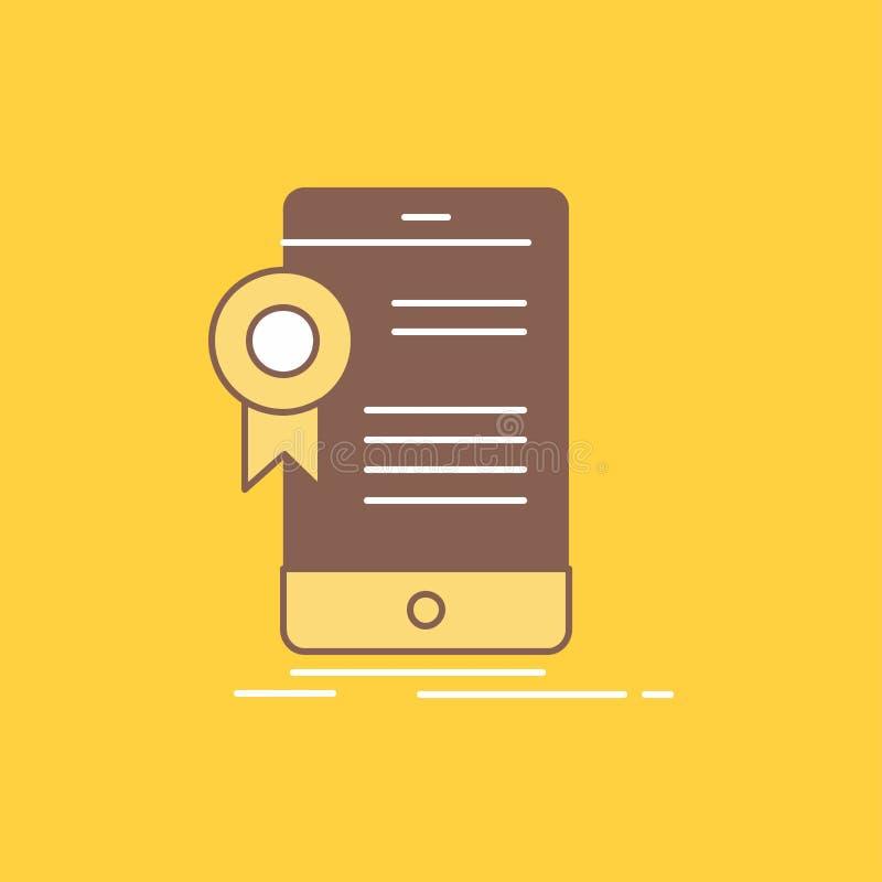 Zertifikat, Bescheinigung, App, Anwendung, Zustimmung flache Linie füllte Ikone Sch?ner Logoknopf ?ber gelbem Hintergrund f?r UI stock abbildung