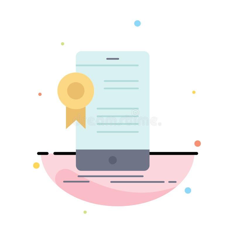 Zertifikat, Bescheinigung, App, Anwendung, Zustimmung flacher Farbikonen-Vektor lizenzfreie abbildung