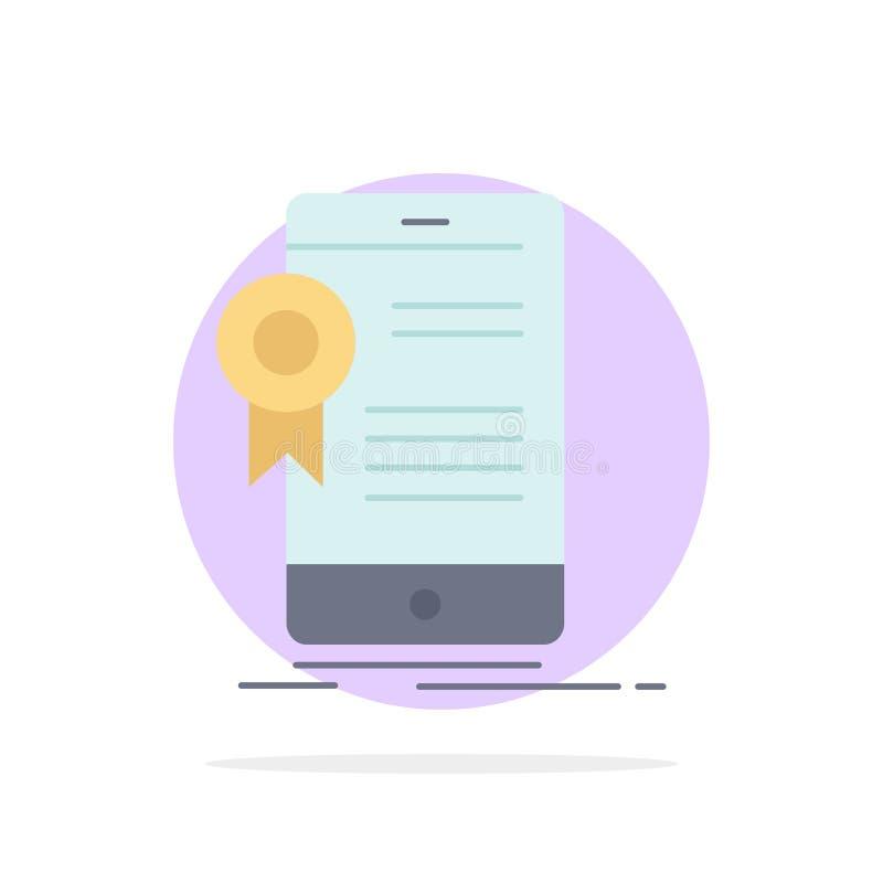 Zertifikat, Bescheinigung, App, Anwendung, Zustimmung flacher Farbikonen-Vektor stock abbildung