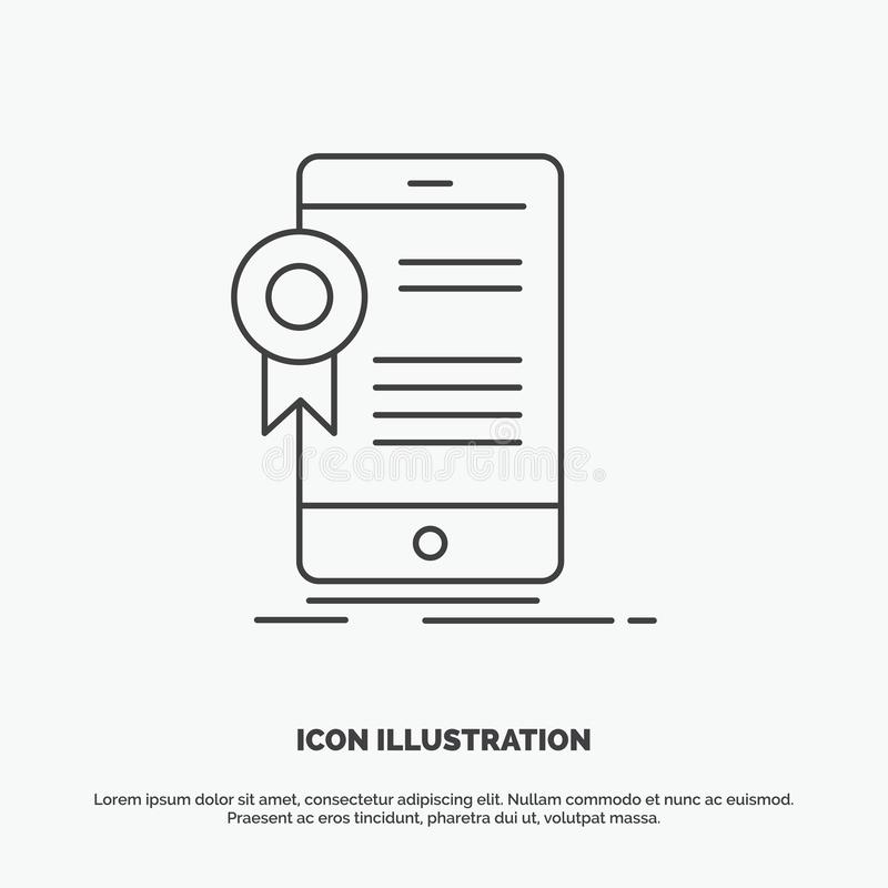 Zertifikat, Bescheinigung, App, Anwendung, Zustimmung Ikone r lizenzfreie abbildung