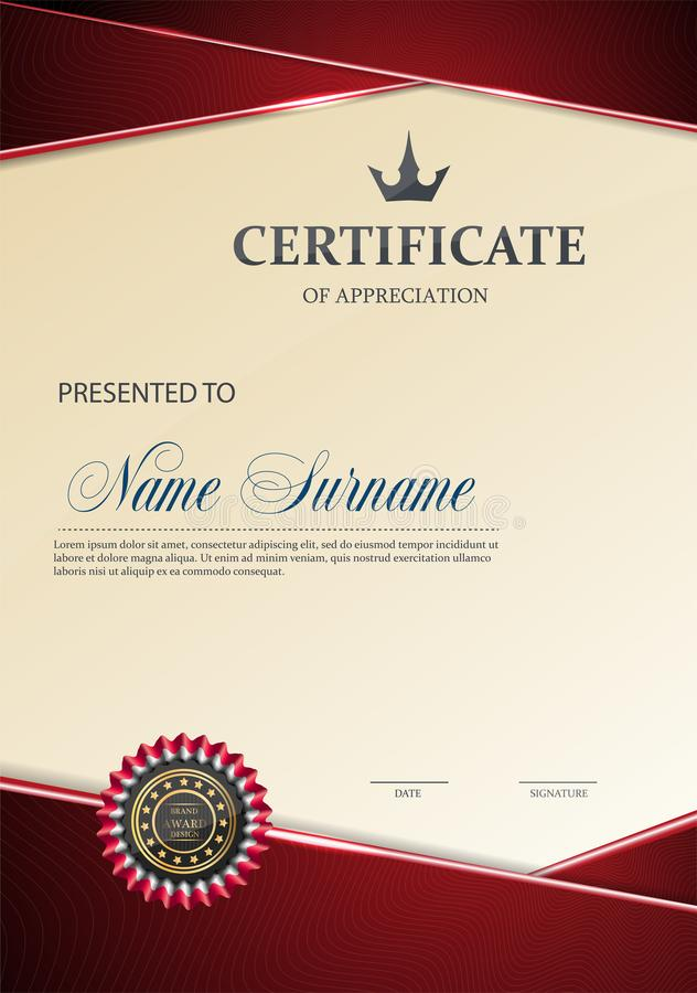 Zertifikat der Anerkennungsschablone lizenzfreie abbildung